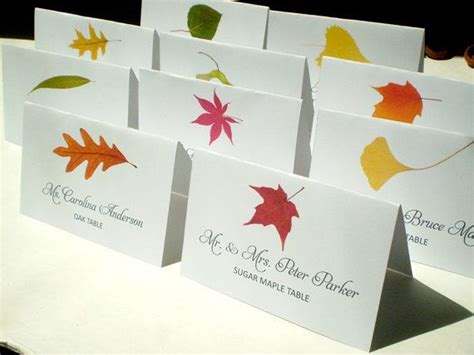 leaf name card template instant printable diy assorted fall tree name