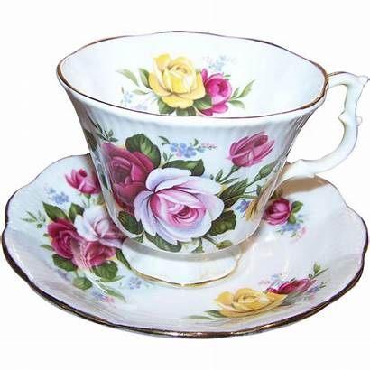Floral Rose Pink Pretty Yellow Tea Cup