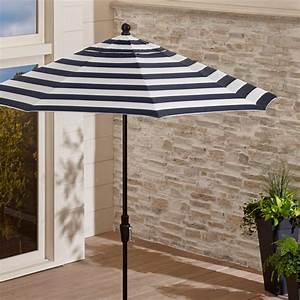 9 U0026 39  Sunbrella Navy Striped Patio Umbrella   Reviews