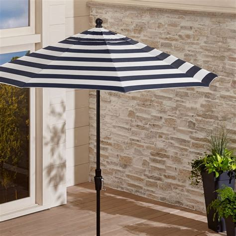 9' Sunbrella Navy Striped Patio Umbrella   Reviews   Crate