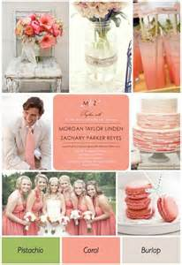coral pistachio and burlap summer wedding colors