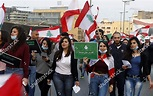 Supporters Lebanese Phalange Party Wave National Flags ...