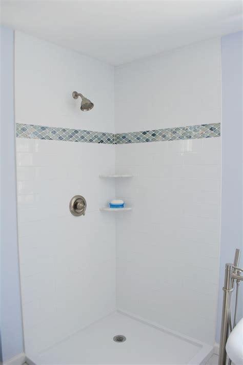 white subway tile shower walls   glass mosaic