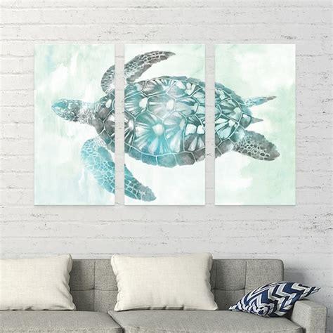 kohls aqua sea turtle canvas wall art  piece set