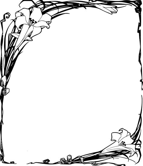 easter border clipart black and white clipart easter lilies frame