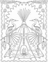 Native Coloring Sheets Creative Haven Dover Welcome Muster Tee Publications Malvorlagen Colouring Adult Pee Patterns Indianer Fall Template Animal Doverpublications sketch template