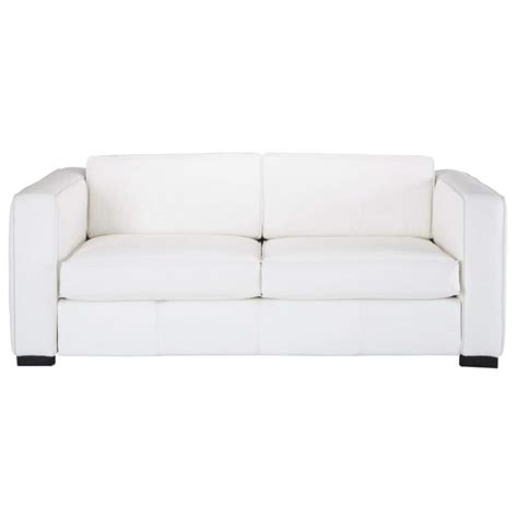 white leather sofa bed 3 seater leather sofa bed in white berlin maisons du monde