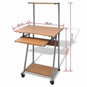 Plateau Pour Table : acheter table de bureau brun pour ordinateur avec roulettes et plateau pas cher ~ Teatrodelosmanantiales.com Idées de Décoration