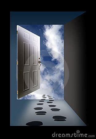 open door sky  footprints royalty  stock photo