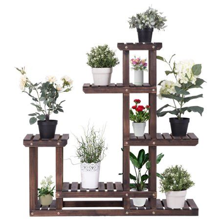 costway outdoor wooden plant flower display stand  wood
