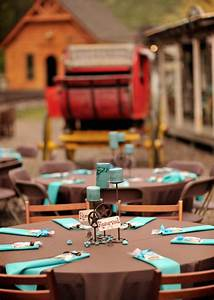 wedding tables with chocolate brown and tiffany blue ...