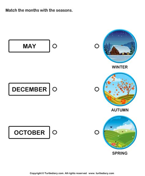 seasons and months matching worksheet turtle diary