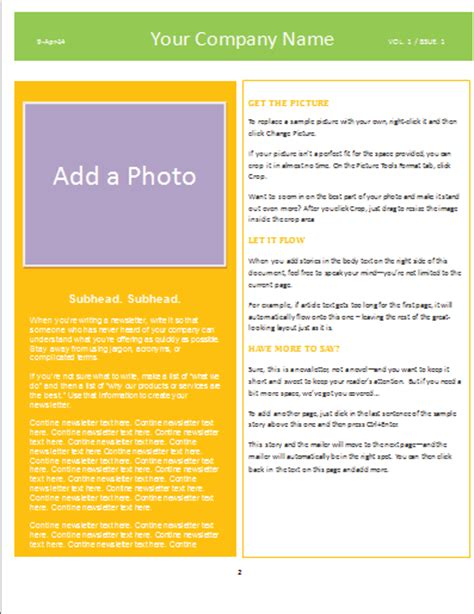 newsletter template microsoft word templates