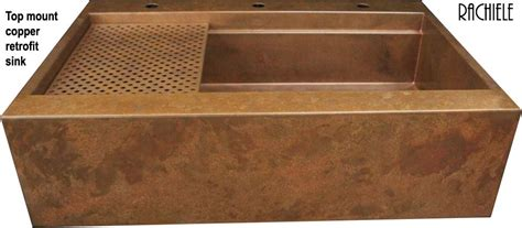 Retrofit Copper Apron Sink by Farmhouse Sink Installation In Existing Cabinet