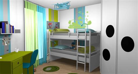 chambre enfant gar 231 ons anis turquoise lits superpos 233 s