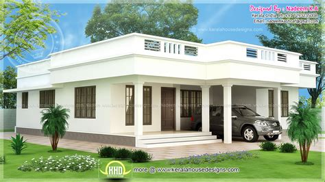 Flat roof single storey home in 1850 sq-ft - Kerala home