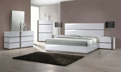 luxurious white high gloss bedroom set  grey accents