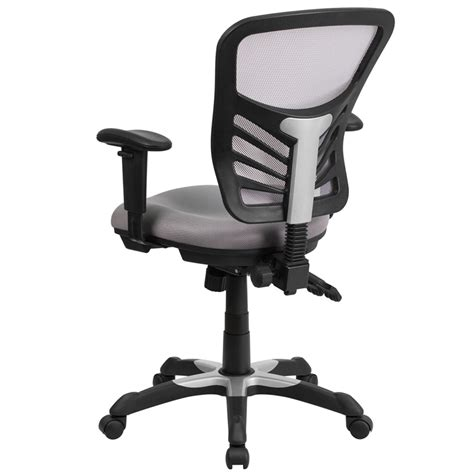 mid back gray mesh swivel task chair with paddle