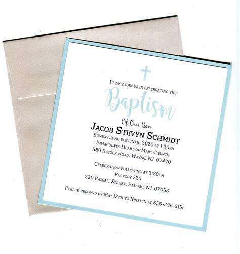 Simple Boys Baptism Invitation Christening First