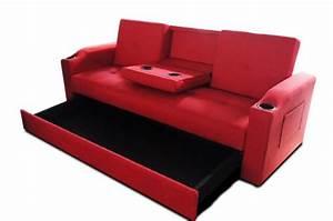 Canapé Rouge Convertible : canap convertible rouge 3 naples design en direct de l 39 usine sur sofactory ~ Teatrodelosmanantiales.com Idées de Décoration