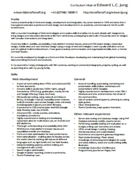 Resume Template For Front End Developer by Sle Front End Developer Resume 7 Exles In Word Pdf