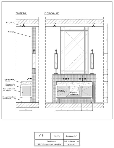 technical drawing elevation aa  section bb double