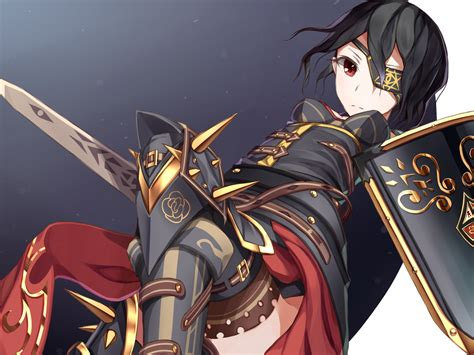 anime girl with eyepatch and black hair original armor atha black hair eyepatch original sword
