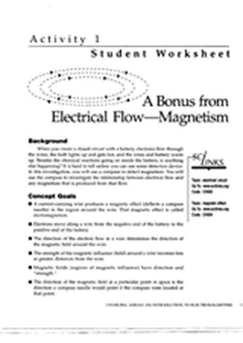 a bonus from electrical flow magnetism worksheet part 1 teachervision