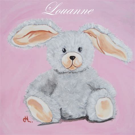 description d une chambre de fille tableau déco peluche lapin enfant bébé tableau enfant
