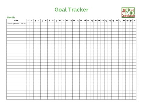 goal setting tracker  fit  food connection