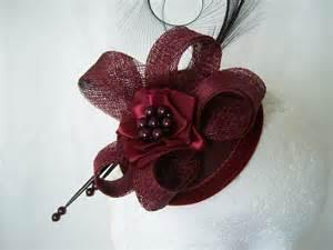 fascinators for hair burgundy wine isadora curl feather sinamay pearl