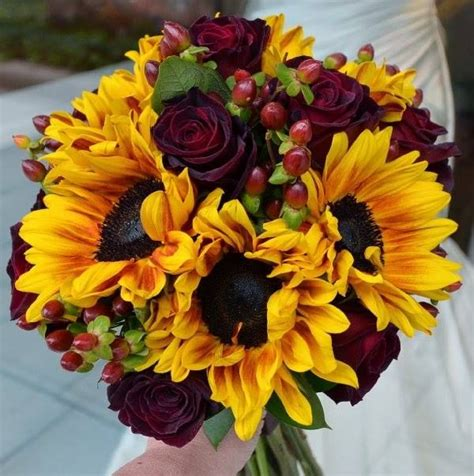 fall sunflower rose bouquet bridal bouquets