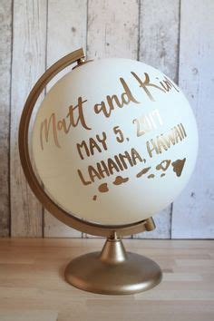 wedding guestbook alternative globe white  gold