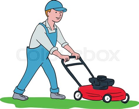 Cartoon Style Illustration Of A Gardener Mowing Lawn With