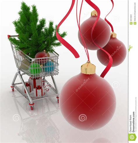 shopping cart christmas tree shopping cart with christmas balls fir tree and gift 1406