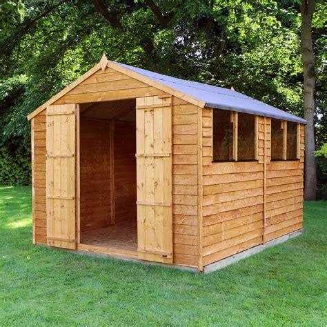 ebay garden shed 10x8 overlap wooden shed window door apex roof felt