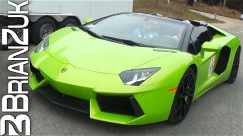 green lamborghini aventador lp  roadster youtube