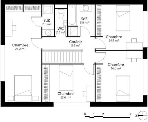 plan de maison 4 chambres avec 騁age plan d une maison a etage maison moderne