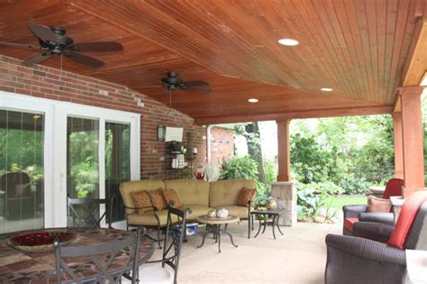 Covered Patio With Vaulted Ceiling Ideas   Rustic   Patio