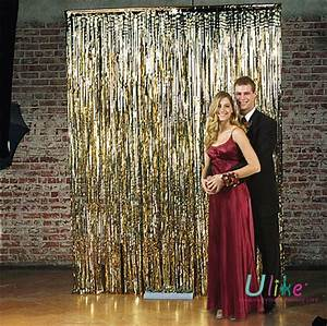 Wedding gold metallic foil curtain buy gold metallic for Decorative curtains for party