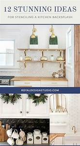 12 stunning ideas for stenciling a diy kitchen backsplash With kitchen cabinets lowes with stencils wall art