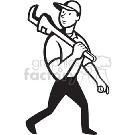 14785 plumber clipart black and white royalty free black and white plumber monkey wrench walk