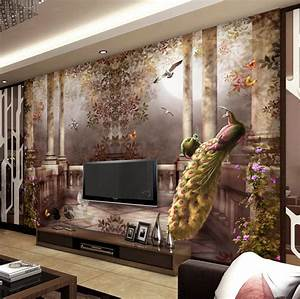 3D wallpaper for walls Peacock Wall Mural Rococo style ...