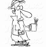 Poor Cartoon Clipart Begging Coloring Helping Outline Beggar Sick Pencil Cup Drawing Vector Homeless sketch template