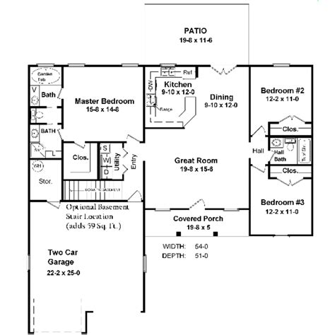 Ranch Style House Plan 3 Beds 2 50 Baths 1400 Sq/Ft Plan