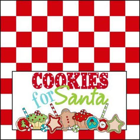 santas cookies red checkered printable sign