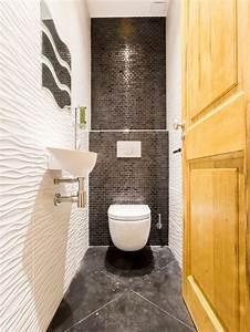 photos et idees deco de wc et toilettes avec un carrelage gris With quelle couleur pour les toilettes 2 peinture couleur foncee noir rouge gris violet
