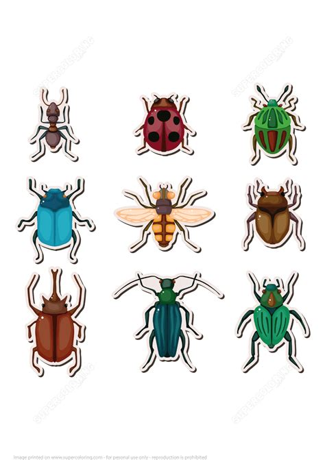 insects printable stickers  printable papercraft templates