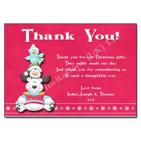 polar bear christmas thank you note