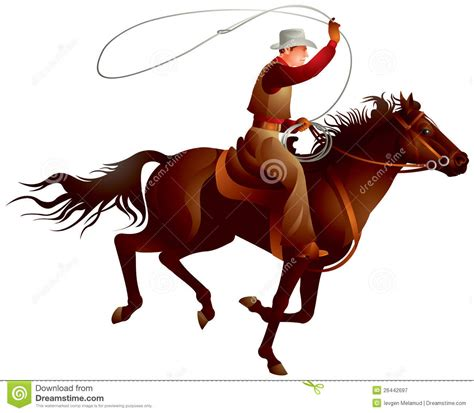 Cowboy Rider Throwing Lasso Stock Vector - Illustration of ...